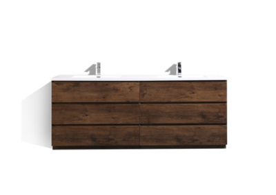 MOA 84″ DOUBLE SINK ROSEWOOD WHITE MODERN BATHROOM VANITY W 6 DRAWERS AND ACRYLIC SINK