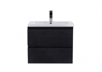 MOB 24 BLACK WALL MOUNTED MODERN BATHROOM VANITY WITH REEINFORCED ACRYLIC SINK