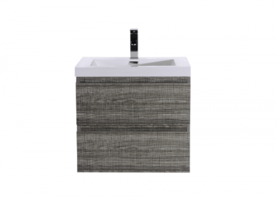 MOB 24 HIGH GLOSS ASH GREY WALL MOUNTED MODERN BATHROOM VANITY WITH REEINFORCED ACRYLIC SINK