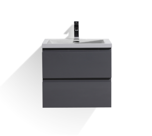 MOB 24 HIGH GLOSS GREY WALL MOUNTED MODERN BATHROOM VANITY WITH REEINFORCED ACRYLIC SINK