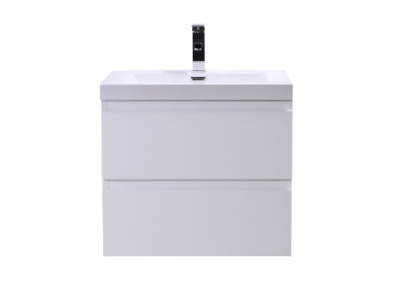 MOB 24 HIGH GLOSS WHITE WALL MOUNTED MODERN BATHROOM VANITY WITH REEINFORCED ACRYLIC SINK