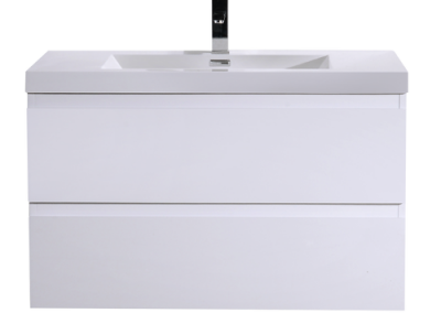 MOB 36 HIGH GLOSS WHITE WALL MOUNTED MODERN BATHROOM VANITY WITH REEINFORCED ACRYLIC SINK