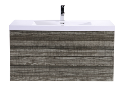 MOB 42 HIGH GLOSS ASH GREY WALL MOUNTED MODERN BATHROOM VANITY WITH REEINFORCED ACRYLIC SINK