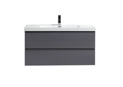 MOB 42 HIGH GLOSS GREY WALL MOUNTED MODERN BATHROOM VANITY WITH REEINFORCED ACRYLIC SINK