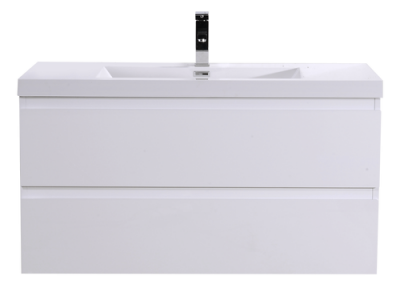 MOB 42 HIGH GLOSS WHITE WALL MOUNTED MODERN BATHROOM VANITY WITH REEINFORCED ACRYLIC SINK