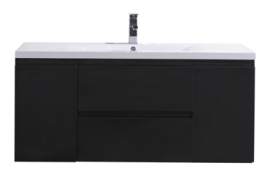 MOB 48 BLACK WALL MOUNTED MODERN BATHROOM VANITY WITH REEINFORCED ACRYLIC SINK