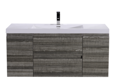 MOB 48 HIGH GLOSS ASH GREY WALL MOUNTED MODERN BATHROOM VANITY WITH REEINFORCED ACRYLIC SINK