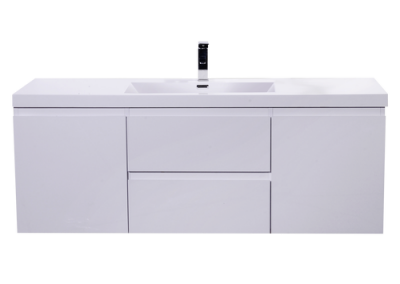 MOB 48 HIGH GLOSS WHITE WALL MOUNTED MODERN BATHROOM VANITY WITH REEINFORCED ACRYLIC SINK