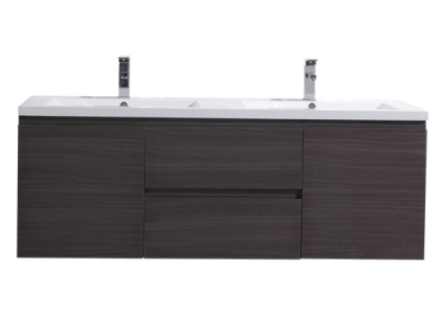 MOB 60 DOUBLE SINK BLACK GREY OAK WALL MOUNTED MODERN BATHROOM VANITY WITH REEINFORCED ACRYLIC SINK