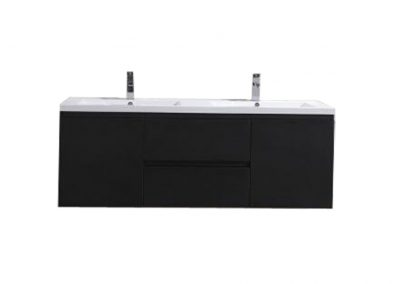 MOB 60 DOUBLE SINK BLACK WALL MOUNTED MODERN BATHROOM VANITY WITH REEINFORCED ACRYLIC SINK
