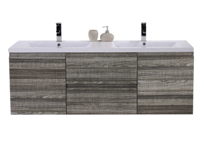 MOB 60 DOUBLE SINK HIGH GLOSS ASH GREY WALL MOUNTED MODERN BATHROOM VANITY WITH REEINFORCED ACRYLIC SINK