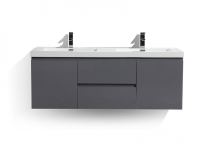MOB 60 DOUBLE SINK HIGH GLOSS GREY WALL MOUNTED MODERN BATHROOM VANITY WITH REEINFORCED ACRYLIC SINK