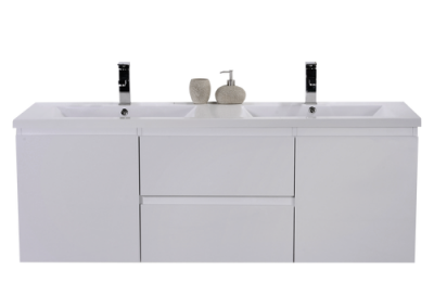 MOB 60 DOUBLE SINK HIGH GLOSS WHITE WALL MOUNTED MODERN BATHROOM VANITY WITH REEINFORCED ACRYLIC SINK