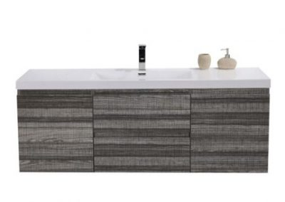 MOB 60 SINGLE SINK HIGH GLOSS ASH GREY WALL MOUNTED MODERN BATHROOM VANITY WITH REEINFORCED ACRYLIC SINK