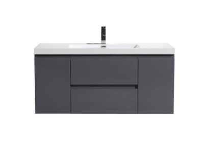 MOB 60 SINGLE SINK HIGH GLOSS GREY WALL MOUNTED MODERN BATHROOM VANITY WITH REEINFORCED ACRYLIC SIN