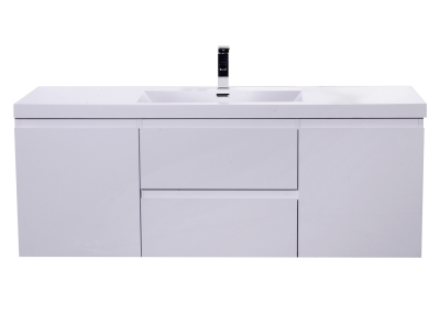 MOB 60 SINGLE SINK HIGH GLOSS WHITE WALL MOUNTED MODERN BATHROOM VANITY WITH REEINFORCED ACRYLIC SINK