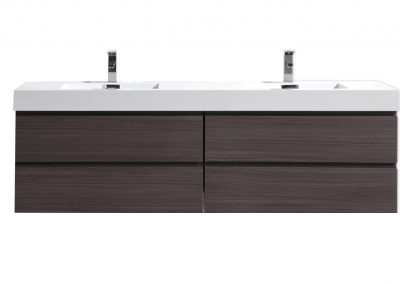 MOB 72 BLACK GRAY OAK WALL MOUNTED MODERN BATHROOM VANITY WITH REEINFORCED ACRYLIC SINK