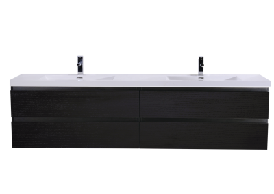 MOB 72 BLACK WALL MOUNTED MODERN BATHROOM VANITY WITH REEINFORCED ACRYLIC SINK