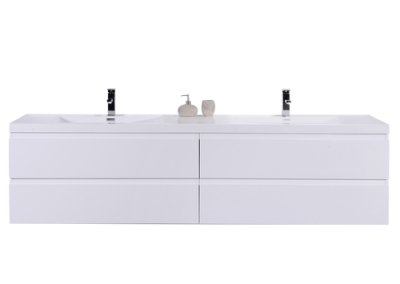 MOB 72 GLOSS WHITE WALL MOUNTED MODERN BATHROOM VANITY WITH REEINFORCED ACRYLIC SINK