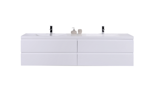 MOB 84 HIGH GLOSS WHITE WALL MOUNTED MODERN BATHROOM VANITY WITH REEINFORCED ACRYLIC SINK