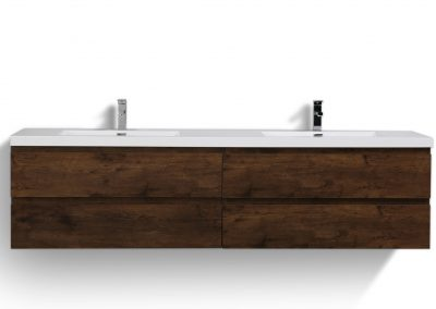 MOB 84 ROSEWOOD WALL MOUNTED MODERN BATHROOM VANITY WITH REEINFORCED ACRYLIC SINK