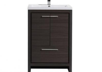 MOD 24 GRAY OAK MODERN BATHROOM VANITY WITH WHITE ACRYLIC COUNTER TOP