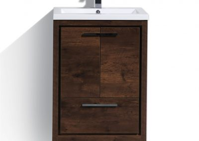 MOD 24 ROSE WOOD MODERN BATHROOM VANITY WITH WHITE ACRYLIC COUNTER