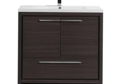 MOD 36 GRAY OAK MODERN BATHROOM VANITY WITH WHITE ACRYLIC COUNTER TOP