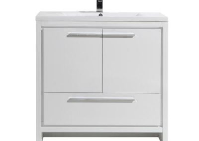 MOD 36 HIGH GLOSS WHITE MODERN BATHROOM VANITY WITH WHITE ACRYLIC COUNTER TOP