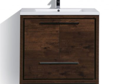MOD 36 ROSE WOOD MODERN BATHROOM VANITY WITH WHITE ACRYLIC COUNTER