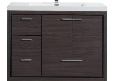 MOD 42 DARK GRAY OAK MODERN BATHROOM VANITY W LEFT SIDE DRAWERS