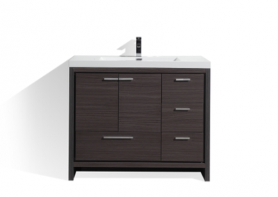 MOD 42 DARK GRAY OAK MODERN BATHROOM VANITY W RIGHT SIDE DRAWERS