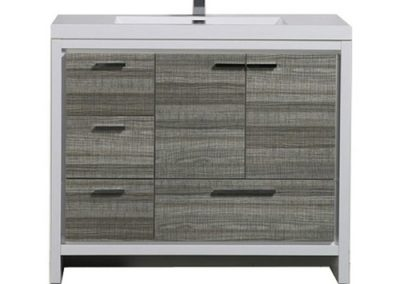 MOD 42 HIGH GLOSS ASH GREY MODERN BATHROOM VANITY W LEFT SIDE DRAWERS