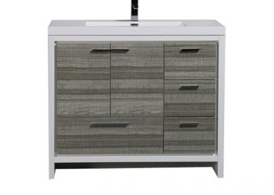 MOD 42 HIGH GLOSS ASH GREY MODERN BATHROOM VANITY W RIGHT SIDE DRAWERS