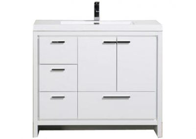 MOD 42 HIGH GLOSS WHITE MODERN BATHROOM VANITY W LEFT SIDE DRAWERS