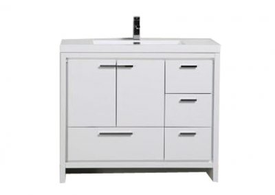 MOD 42 HIGH GLOSS WHITE MODERN BATHROOM VANITY W RIGHT SIDE DRAWERS