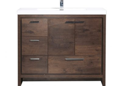 MOD 42 ROSEWOOD MODERN BATHROOM VANITY W LEFT SIDE DRAWERS