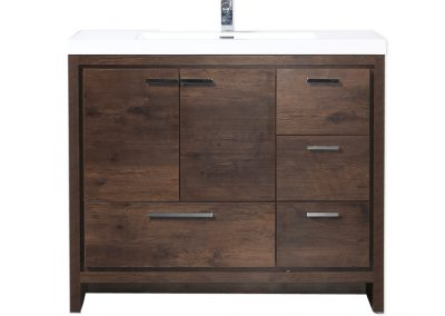 MOD 42 ROSEWOOD MODERN BATHROOM VANITY W RIGHT SIDE DRAWERS