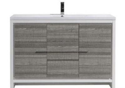 MOD 48 ASH GRAY MODERN BATHROOM VANITY WITH WHITE ACRYLIC COUNTER TOP