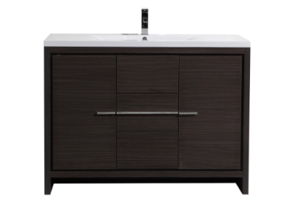 MOD 48 GRAY OAK MODERN BATHROOM VANITY WITH WHITE ACRYLIC COUNTER TOP