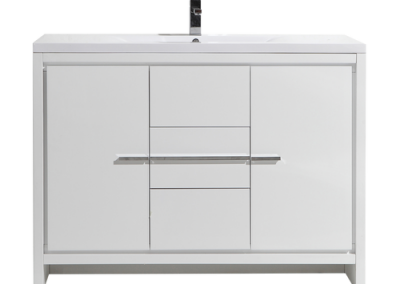 MOD 48 HIGH GLOSS WHITE MODERN BATHROOM VANITY WITH WHITE ACRYLIC COUNTER TOP