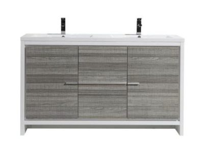 MOD 60 DOUBLE SINK ASH GRAY MODERN BATHROOM VANITY WITH WHITE ACRYLIC COUNTER TOP