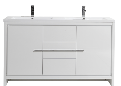 MOD 60 DOUBLE SINK HIGH GLOSS WHITE MODERN BATHROOM VANITY WITH WHITE ACRYLIC COUNTER TOP