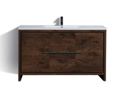 MOD 60 ROSE WOOD MODERN BATHROOM VANITY WITH WHITE ACRYLICCOUNTER TOP