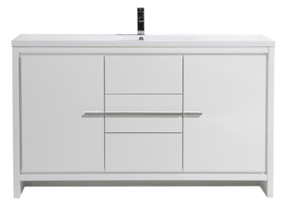MOD 60SINGLE SINK HIGH GLOSS WHITE MODERN BATHROOM VANITY W 2 DOORS 3 DRAWERS AND ACRYLIC SINK
