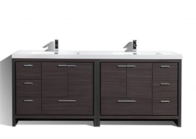 "MOD 84"" DARK GREY OAK MODERN BATHROOM VANITY WITH ACRYLIC SINK"