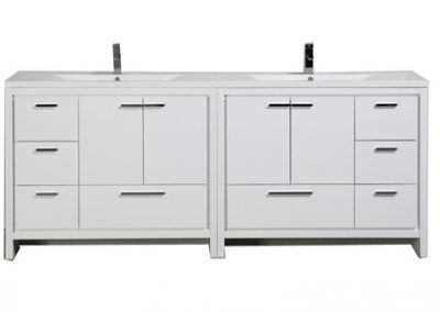 "MOD 84"" HIGH WHITE MODERN BATHROOM VANITY WITH ACRYLIC SINK"