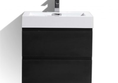 MOF 24 BLACK WALL MOUNTED MODERN BATHROOM VANITY WITH REEINFORCED ACRYLIC SINK