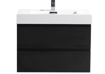 MOF 30 BLACK WALL MOUNTED MODERN BATHROOM VANITY WITH REEINFORCED ACRYLIC SINK