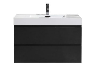 MOF 36 BLACK WALL MOUNTED MODERN BATHROOM VANITY WITH REEINFORCED ACRYLIC SINK